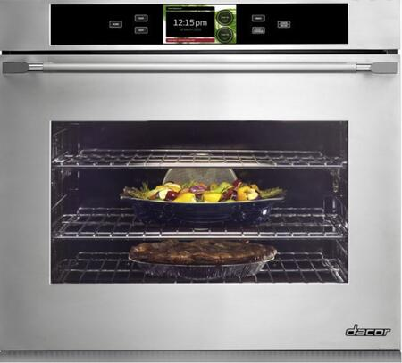 "Dacor DYOV130B 30"" Smart Single Wall Oven , in Black Glass with Vertical Stainless Steel Trim"