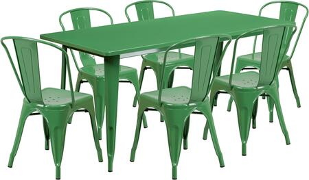"""Flash Furniture 63"""" Indoor-Outdoor Table Set with Rectangular Cafe Table, 6 Stackable Chairs, Powder Coat Finish, Protective Rubber Floor Glides and Metal Construction in"""