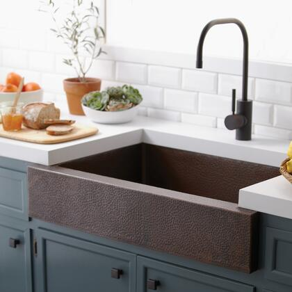 "Native Trails Copper Kitchen Sinks Collection 33"" Paragon Kitchen Sink with 3.5"" Drain Opening, Single Bowl, Apron Front Installation and Recycled Copper Material in"