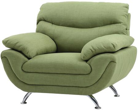 """Glory Furniture 44"""" Armchair with Chrome Legs, Padded Arms, Medium Firm Seating and Fabric Upholstery in"""