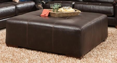 "Jackson Furniture Hudson Collection 4396-28- 51"" Cocktail Ottoman with Tufted Top, Luggage Stitching and Faux Leather Upholstery in"