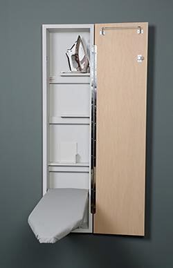 """Iron-A-Way NE46 Built-In Ironing Center with 46"""" Ventilated Board, Storage Shelves, Full Length Piano Hinge and Hot Iron Storage with"""
