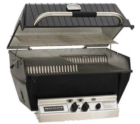"Broilmaster P4xx 24"" Premium Series Built-In Grill with 437 sq. in. Cooking Surface, 40000 BTU Total Output, 2 Bowtie Burners, Warming Rack, and Aluminum Construction, in Black"