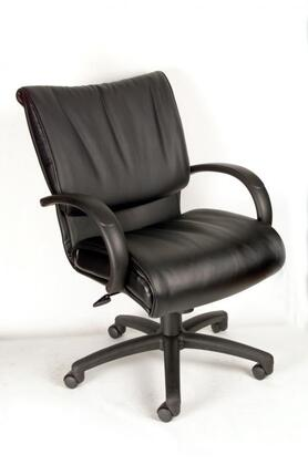 """Boss B97XX 39"""" Mid Back Executive Chair with Knee Tilt, Dacron Filled Cushions, Adjustable Tilt-Tension Control, Seat Height Adjustment, and Loop Arms in Black LeatherPlus Upholstery"""