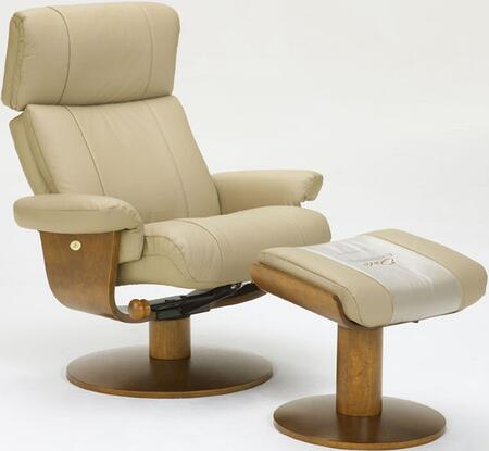Mac Motion Oslo NORFOLK-X-103 Norfolk Leather Swivel Recliner With Ottoman, Massaging Lumbar System & In
