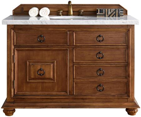 "James Martin Mykonos Collection 555-V48-CIN- 48"" Cinnamon Single Vanity with Four Drawers, One Door, Antique Iron Hardware and"