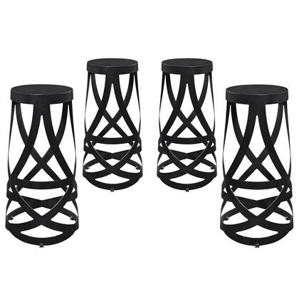 Modway EEI-1361 Ribbon Bar Stool Set of 4 with Modern Design, Lightweight Construction, Interwoven Strip Design and Power Coated Steel