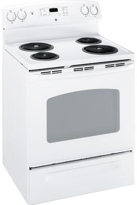 GE JBP35DMWW QuickClean Series Electric Freestanding Range with Coil Element Cooktop, 5.3 cu. ft. Primary Oven Capacity, Storage in White