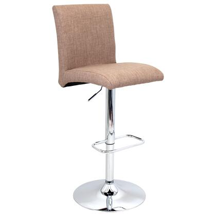 """LumiSource Tintori BS-JY-TNT 40"""" - 45"""" Barstool with 360-Degree Swivel, Fabric Upholstery and Chrome Base in"""