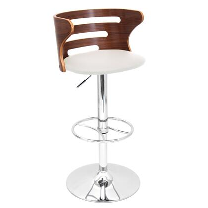 """LumiSource Cosi BS-JY-COSI 32"""" - 39"""" Barstool with 360 Degree Swivel, Slotted Bent Wood Back and Polished Chrome Base in"""