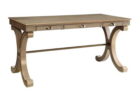 "Powell Collection 15A1003BX 57"" Desk with Three Drawers, Antique Bronze Shell Pulls and Stretcher in"