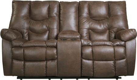 """Benchcraft 9220131 Burgett 76"""" Reclining Loveseat with Console, Dual Cup Holders, Glider, Jumbo Stitching, Metal Frame and Fabric Upholstery in Espresso Color"""