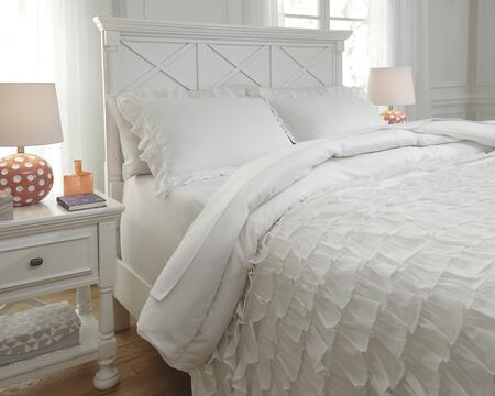 Signature Design by Ashley Aaronas Q74600 PC Size Duvet Cover Set includes 1 Duvet Cover and Standard Sham with Ruffle Design and Cotton Material in White Color