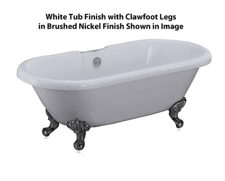Tub Shown in White with Clawfoot Finish in Brushed Nickel