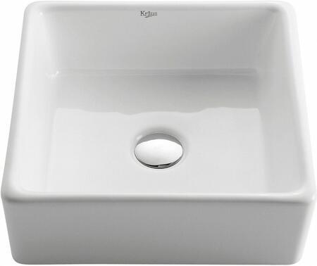 Kraus CKCV1201007 White Ceramic Series Sink and Faucet Bundle with Square Ceramic Vessel Sink and Ramus Faucet