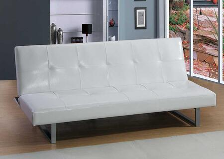"""Glory Furniture G11-S 70"""" Convertible Full Size Sofa Bed with Faux Leather Upholstery, Tufted Detailing and Metal Legs in"""