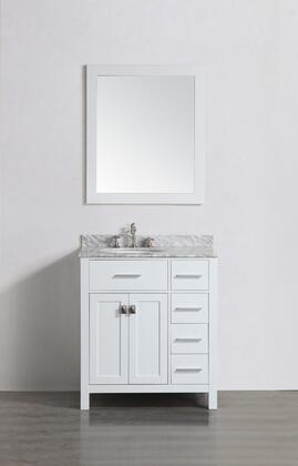 "Bosconi SBL2104WHX 30"" Single Vanity with White Carrara Marble Top"
