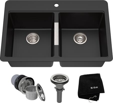 "Kraus KGD43B Granite Series 33"" Dual Mount Double-Bowl Kitchen Sink with Natural Granite Construction, Rounded Corners, and Heat Resistance Capability, Black Onyx Finish"
