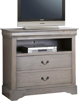 """Acme Furniture Louis Philippe III Collection 37"""" TV Console with 2 Drawers, 1 Open Compartment, Brushed Nickel Metal Handles, Pine Wood and Gum Veneer Materials in"""