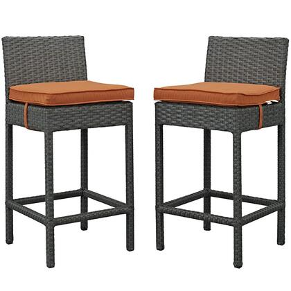 Modway Sojourn Collection 2 PC Outdoor Patio Bar Stool Set with Powder Coated Aluminum Frame, Sunbrella Fabric and Synthetic Rattan Weave Material in