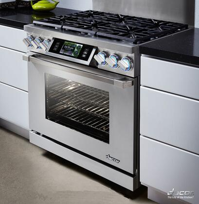 """Dacor DYRP36DSCX 36"""" High Altitude Slide-In Dual Fuel Range With 5.2 cu. ft Capacity Oven, SoftShut Hinges and 18000 BTU SimmerSear Burner: Color Match"""
