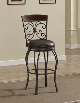 American Heritage 11113 Amelia Series Stool with Pepper Finished Metal Frame and Bonded Leather Upholstery in Tobacco