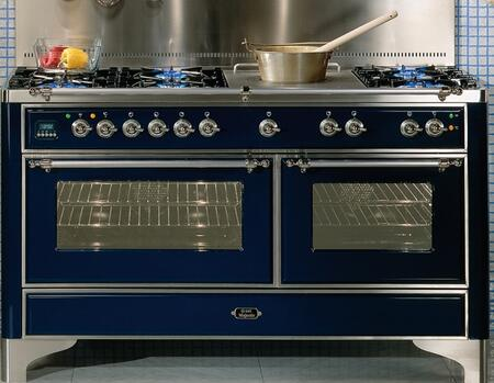 "Ilve Majestic Series UM150SMPX 60"" Freestanding Dual Fuel Range with 6 Burners, 2.8 cu. ft. Primary Oven Capacity, Convection Oven, Warming Drawer, & Chrome Trim, in"