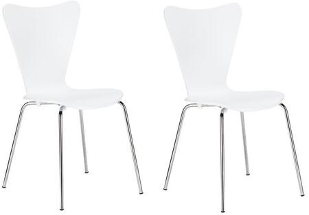 EdgeMod EM183WHIX2 Elgin Series Modern Metal Frame Dining Room Chair