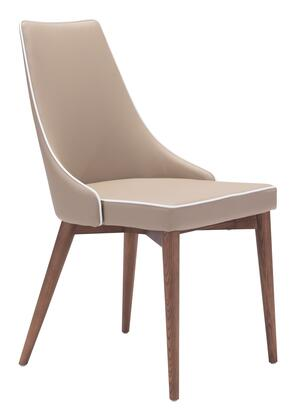 "Zuo 10027X Moor 36"" Dining Chair with Wood Base and Wing Back Style Back and Plush Seat"