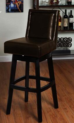 Armen Living LC4048BABR Wayne Swivel Bar stool with 360 Degree Swivel Mechanism, Solid Wood Construction, Fire Retardant Foam Padding and Bycast Leather Finish in Brown