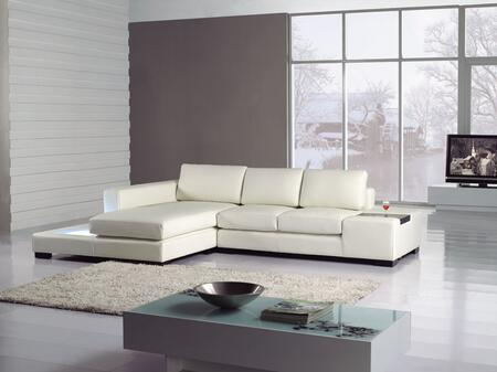 VIG Furniture VGYIT35MINIBL Divani Casa Series Sofa and Chaise Bonded Leather Sofa