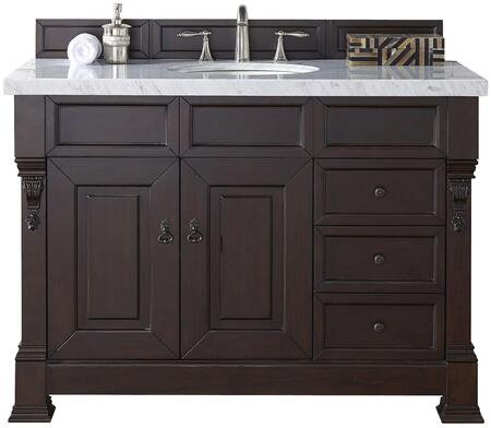 "James Martin Brookfield Collection 147-114-5266- 48"" Burnished Mahogany Single Vanity with Two Soft Closing Doors, Three Soft Closing Drawers, Backsplash, Hand Carved Filigrees and"