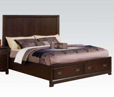 Acme Furniture Bellwood 001 Panel Bed with Storage Drawers, Decorative Antique Brass Hardware, Dovetail French Front and English Back Drawers in Dark Cherry Finish