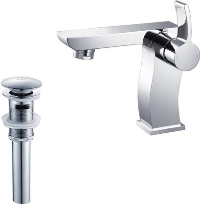 Kraus KEF14601PU1 Exquisite Series Sonus Bathroom Basin Lever Faucet with Solid Brass Construction, Kerox Ceramic Cartridge, and Matching Pop-Up Drain
