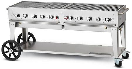 """Crown Verity CV-MCB-72X 72"""" liquid propane Mobile Grill up to 159,000 BTU with Roll Dome and adjustable bun rack package in stainless steel"""
