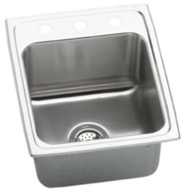 "Elkay DLRQ172210 Gourmet Lustertone Stainless Steel 17"" x 22"" Single Basin Kitchen Sink:"