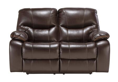 Signature Design by Ashley Pranas 47900LS Reclining Loveseat with Plush Padded Arms, Thick Divided Back Cushions and Contrasting Trim in Brindle