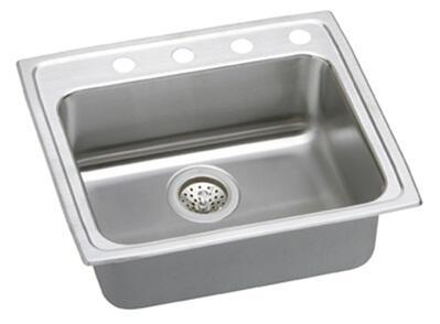 """Elkay LRAD252165 Gourmet Lustertone Stainless Steel 25"""" x 21-1/4"""" Single Basin Top Mount Kitchen Sink:"""