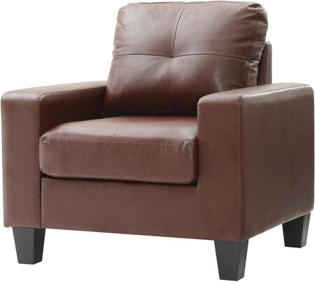 Glory Furniture G467AC Newbury Series Faux Leather Armchair in Brown