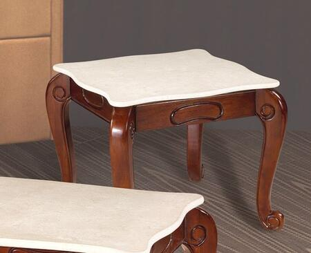 """Meridian 232E 25.5"""" Square End Table with Marble Top, Carved Details and Cabriole Legs in Cherry Finish"""