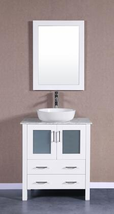 Bosconi Bosconi AW130BWLCMX Single Vanity with Soft Closing Doors , Drawers,Marble Top, Faucet, Mirror in White and White Vessel Ceramic Sink