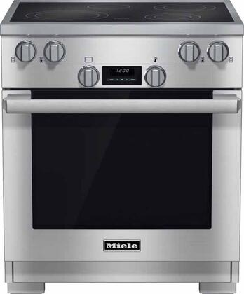 "Miele HR1421E 30"" Pro-Style Smoothtop Electric Range with 4.6 cu. ft., 4 Cooking Zones, TwinPower Convection Fan Oven, Self-Clean, 7 Operating Modes, and EasyClean Ceran Surface in Stainless Steel"