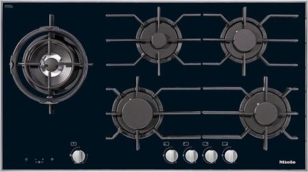 "Miele KM3054x 36"" Gas Glass Cooktop with 5 Sealed Burners, GasStop and ReStart Safety, Dishwasher Safe Grates and Electronic Ignition, in Black"