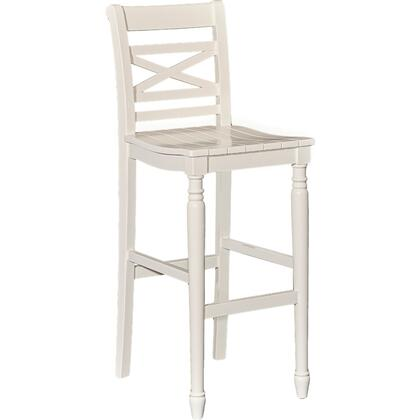 Powell Asher Collection D1023B16 Stool with Planked Seat, Stretchers and Turned Legs in White