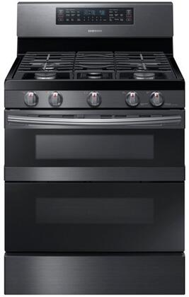"""Samsung NX58M6850Sx 30"""" Freestanding Gas Range with 5.8 cu. ft. Total Capacity, FlexDuo, Dual Oven Doors, 5 Elements, and Storage Drawer, in"""