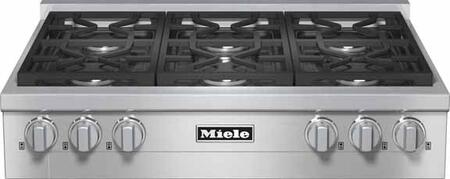 Miele KMR113 Rangetop with X Sealed M Pro Dual Stacked Burners, TrueSimmer Function, Dishwasher-Safe Grates, Automatic Re-Ignition, Clean Touch Steel Front, and Backlit Knobs in Stainless Steel