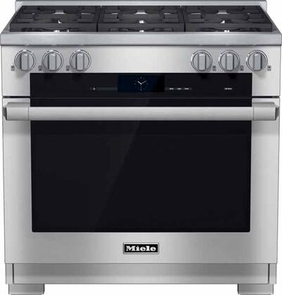 """Miele HR1934D 36"""" Pro-Style Dual Fuel Range with 5.8 cu. ft., 6 Sealed M Pro Dual Stacked Burners, TwinPower Convection Fan Oven, Self-Clean, 21 Operating Modes, and Wireless Roast Probe in Stainless Steel"""
