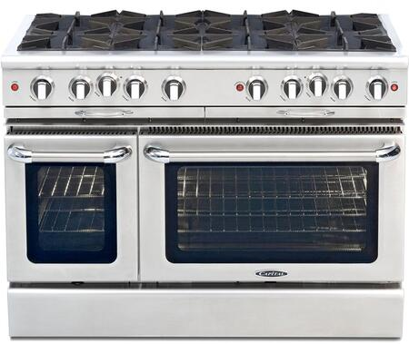 "Capital CGSR488N 48"" Culinarian Series Gas Freestanding Range with Open Burner Cooktop, 4.6 cu. ft. Primary Oven Capacity, in Stainless Steel"