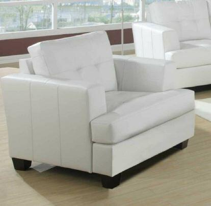Yuan Tai 1082CW Caleb Series Leather Chair with Wood Frame in White