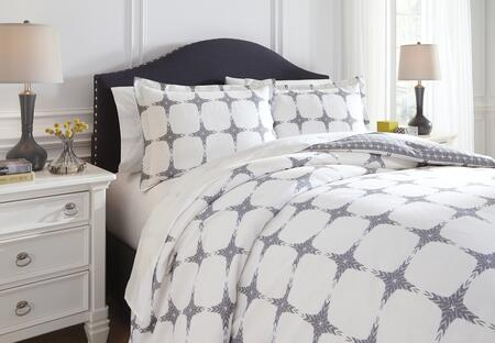 Signature Design by Ashley Cyrun 3 PC Queen Size Reversible Duvet Cover Set includes 1 Duvet Cover and 2 Standard Shams with Geometric Pattern and Cotton Material in Color